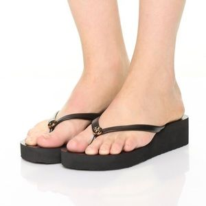 Tory Burch black wedge flip flop